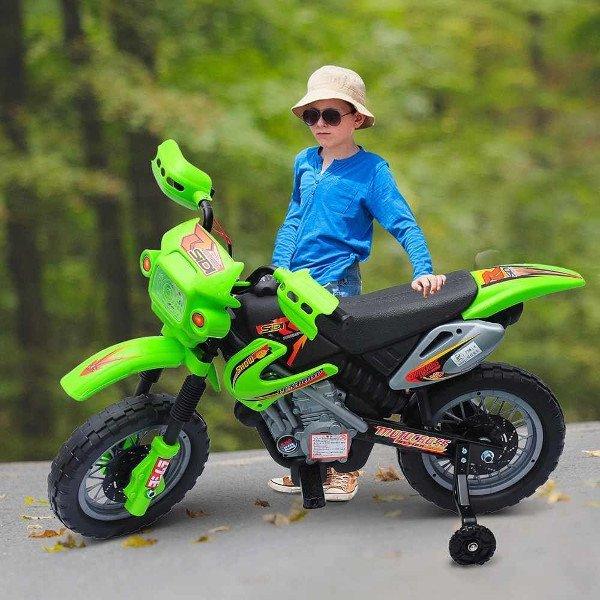 moto electrica verde para niño