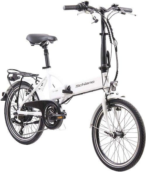 F.lli Schiano E- Sky Bicicleta eléctrica Plegable, Unisex Adulto, Blanca, 20 lado
