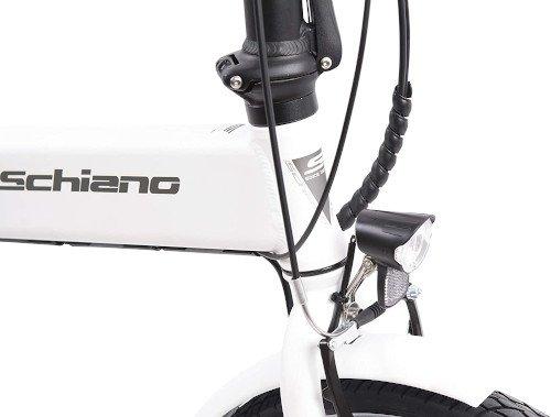 F.lli Schiano E- Sky Bicicleta eléctrica Plegable, Unisex Adulto, Blanca, 20 luz