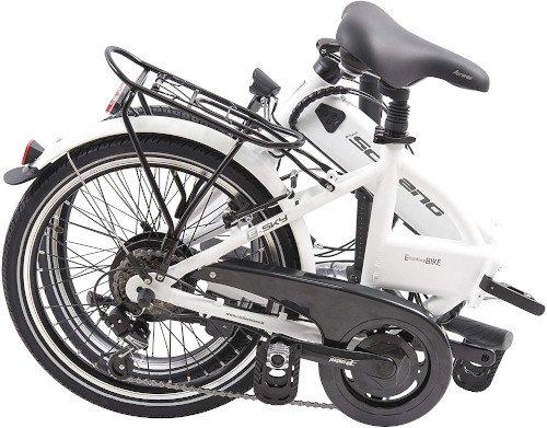 F.lli Schiano E- Sky Bicicleta eléctrica Plegable, Unisex Adulto, Blanca, 20 plegada