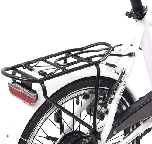F.lli Schiano E- Sky Bicicleta eléctrica Plegable, Unisex Adulto, Blanca, 20 trasera