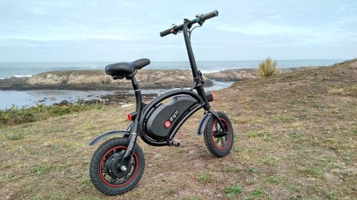 mini e-bike sin pedales negra y roja