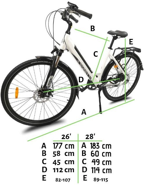 URBANBIKER Bicicleta Eléctrica Sidney medidas