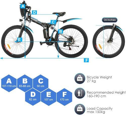 ANCHEER Bicicleta Eléctrica Plegable 26 Pulgadas medidas