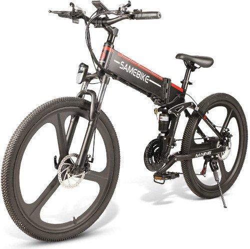 SAMEBIKE Mountain Bike de 26 Pulgadas, Bicicleta Electrica Montaña para Adultos lado