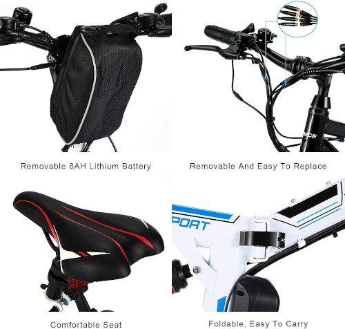 Vivi Bicicleta Eléctrica Plegable, 26 Bicicleta Montaña Adulto accesorios