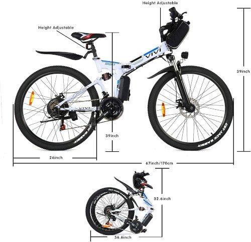 Vivi Bicicleta Eléctrica Plegable, 26 Bicicleta Montaña Adulto medidas